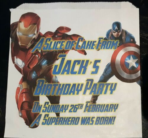 Party Bags Personalised Ironman /& Captain America White Cake