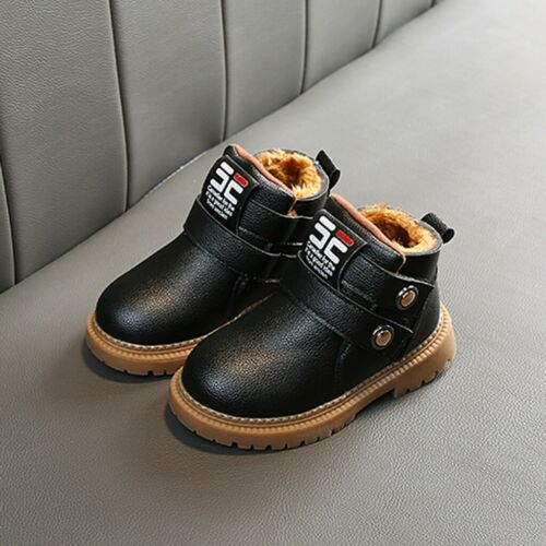 Boys Girls Kids Infants Leather Casual Winter Warm Fur Ankle Boots Shoes Size UK