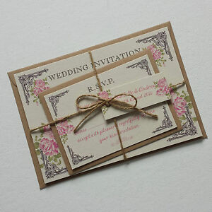 Image Is Loading Vintage Postcard Style Wedding Invitations Amp Rsvp Pink