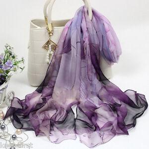 Fashion-Women-039-s-Purple-Lotus-Flower-Print-Long-Chiffon-Scarf-Wrap-Shawl-Stole