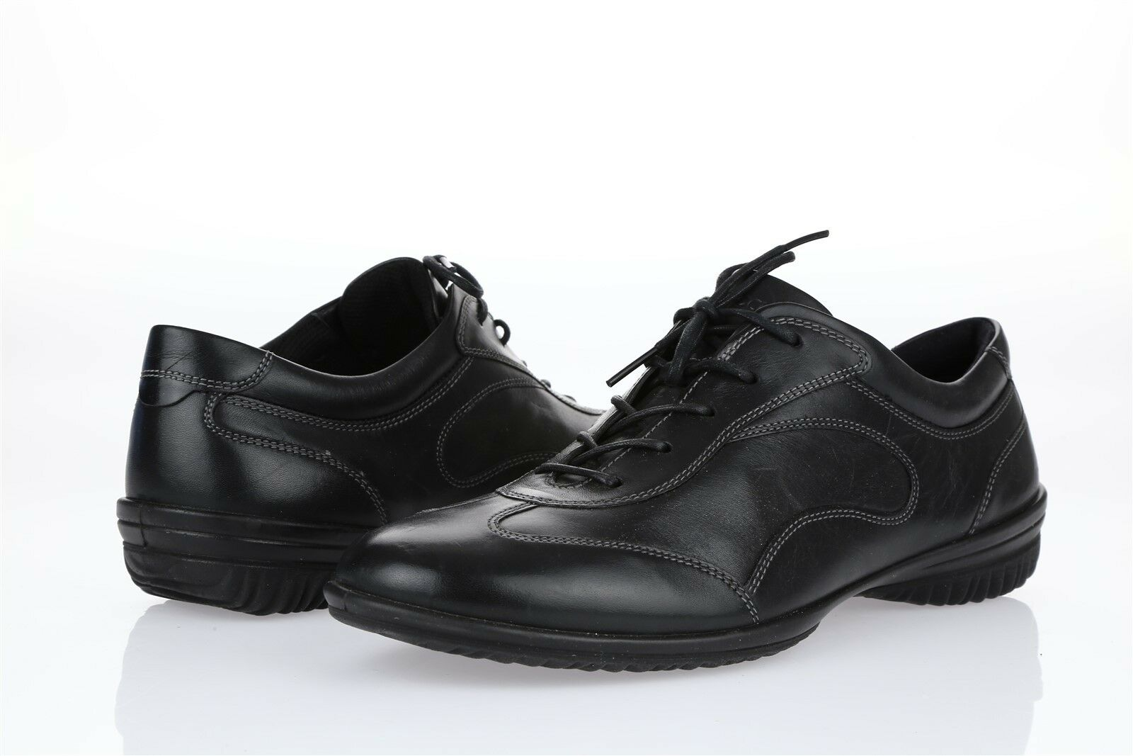 Womens ECCO 207828 Black Leather Fashion Sneakers Sz. 41 NEW