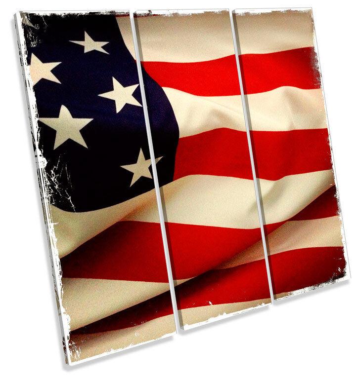 American Flag TREBLE CANVAS WALL ART Square Picture Print