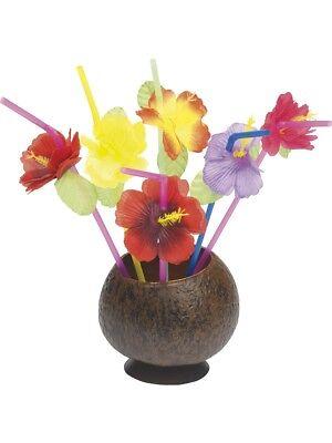 Genossenschaft Hawaii Kostüm Neuheit Trinkhalme Mit Blumen Party Requisite X 12 Neu