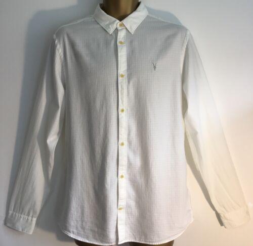 80 Rrp Camicia maniche £ Taglia 00 L Sanborn in lino lunghe a Allsaints Bianco Cwq4H
