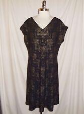 NINE WEST Plus Size 16W Dress Black Gold Shimmery Stretch