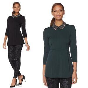 e0906197246 Image is loading Melissa-McCarthy-Seven7-Embellished-Collar-Ponte-Peplum- Blouse-