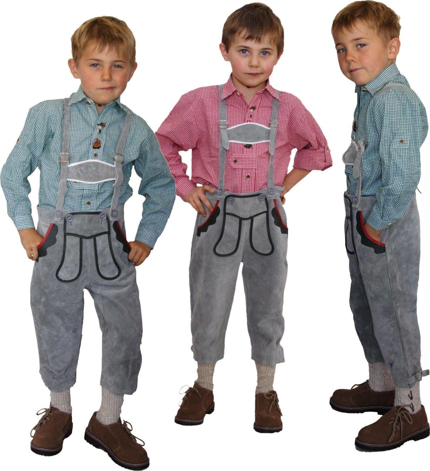 Kniebundlederhose Lederhose + Träger Trachten Trachtenlederhose für Kinder grey