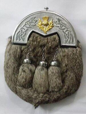 Scottish complet robe Kilt Sporran Gris Fourrure de Lapin celtique Boucle Broche 5 pcs