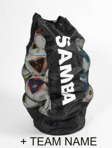 MESH DRAWSTRING SAMBA BALL BAG FOOTBALL RUGBY TEAM NAME