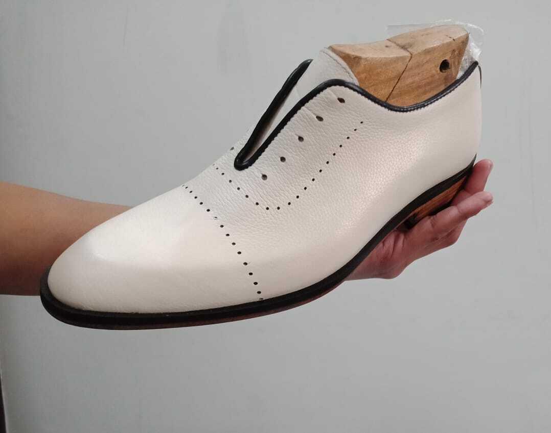 Handmade Men white Party shoes, Men white leather formal shoes, Men dress shoes