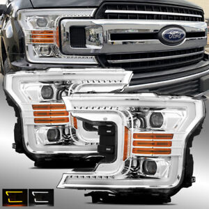 fits   ford  chrome drlsignal led tube dual projector headlights  ebay