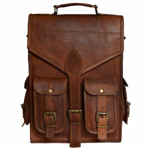 Men-039-s-New-Briefcase-Backpack-Laptop-PC-Handmade-Brown-Genuine-Leather-New-Bag
