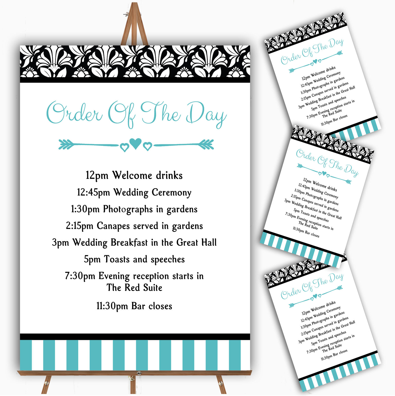 Damask And Aqua Stripes Personalised Wedding Order Of The Day Cards & Signs