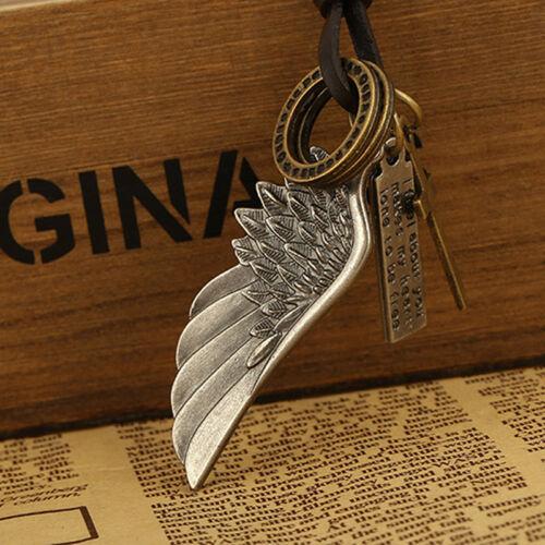 Llamativa Gargantilla Collar de encanto de imitación de cuero cordón Negro Vintage Colgante Ala Fairys 6A