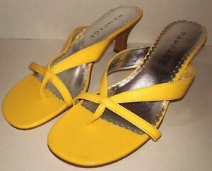 Rampage-Womens-Sz-8-5M-Madyson-Sandals-Heels-Yellow-Silver-Slides-Thong-Toe-Shoe