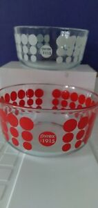 2 Pyrex red & white Polka Dot 100th anniversary.  Clear Glass Bowls1 qt 7201