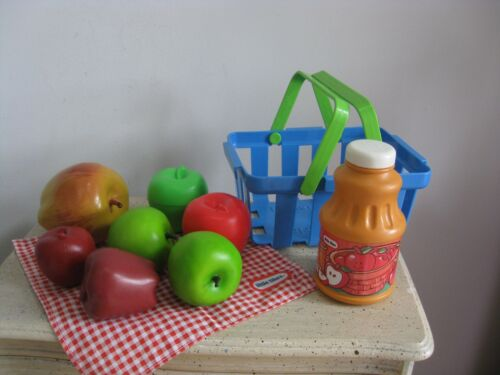FISHER PRICE FUN FOOD LITTLE TIKES ● APPLES NAPKIN BASKET JUICE BOTTLE ● RARE