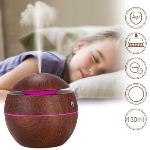 LED USB Holz Maserung Ultrasonic Luft Luftbefeuchter Aroma Essential Öl Diffusor
