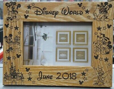 """Personalised Disney World Photo Frame 6x4/"""" Landscape Medium Oak Wood Engraved ☄"""