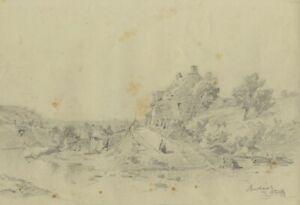 Ralph Stubbs, Cottage at Sandsend – Original late 19th-century graphite drawing