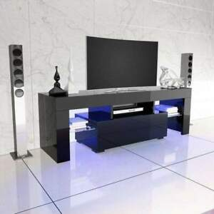 High-Gloss-TV-Unit-Cabinet-Stand-with-LED-Lights-Shelves-Home-Furniture-Black-AA