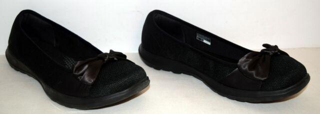Skechers Go Walk Lite Romance Black Slip On Shoes Women's Size 11 M EUC