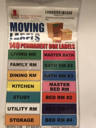 UBOXES Moving Labels 140 Permanent Box Labels NEW SEALED FREE SHIPPING