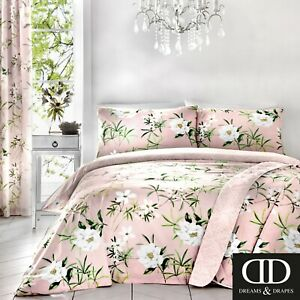 Dreams-amp-Drapes-FLORENCE-Pink-Bedspread-Throw-Comforter-Floral-Bed-Quilted