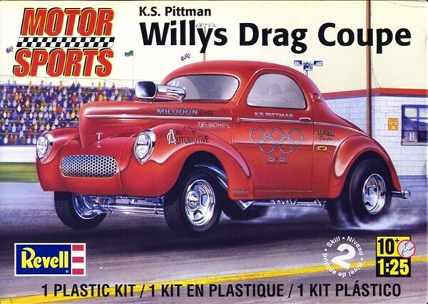 2012 discontinued revell 1 25 K.S. Pittman Willys Drag Coupe Plastic Model Kit