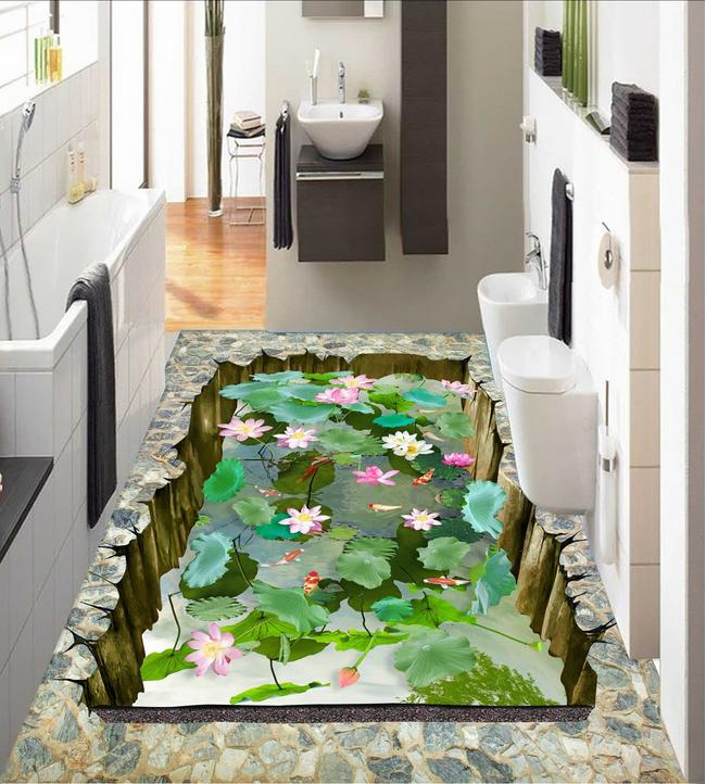 3D Lotus Fish Design 89 Floor WallPaper Murals Wall Print Decal AJ WALLPAPER US