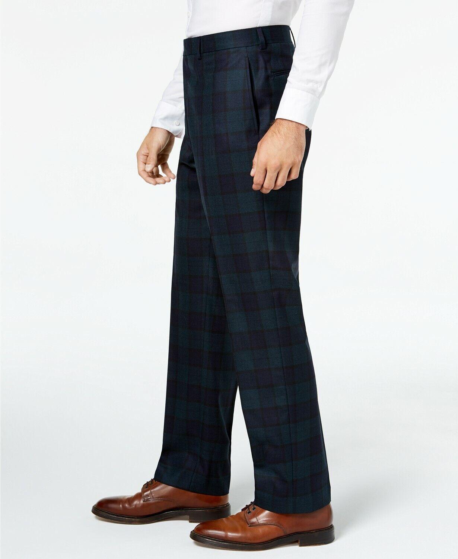 Lauren Ralph Lauren Men's Classic-Fit Navy Green Tartan Plaid Dress Pant 36X29