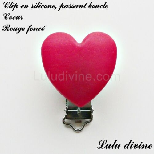 Coeur : Rouge foncé passant boucle attache tétine Pince // Clip en silicone