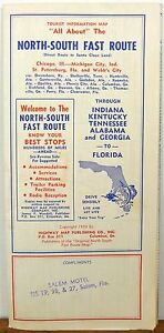 South Florida Highway Map.Details About 1959 North South Florida Chicago Route Strip Map Travel Brochure Us Highway Map