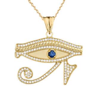 Unique 10k White Gold Egyptian Blue Eye of Horus Pendant Necklace