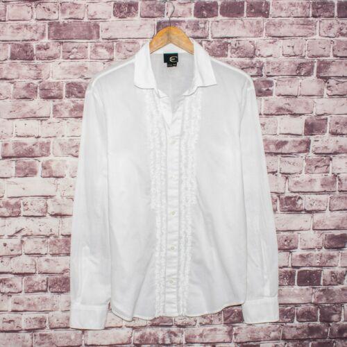 JUST CAVALLI Men's Button Front Shirt Ruffle Front