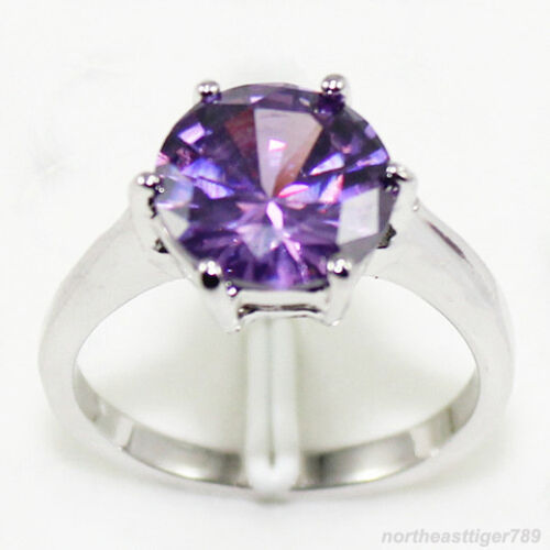 6.7.8.9 Purple Olive Green White Blue Red Pink Cubic Zirconia 18KWGP Rings Size