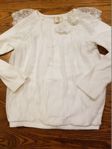 KIMBLE Girls long sleeve pretty top Size 7 Off White EUC