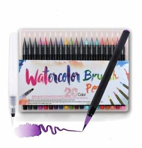 Watercolor Paint Brush Pen Set With Refillable Water Coloring Pen 20 Color New Ebay