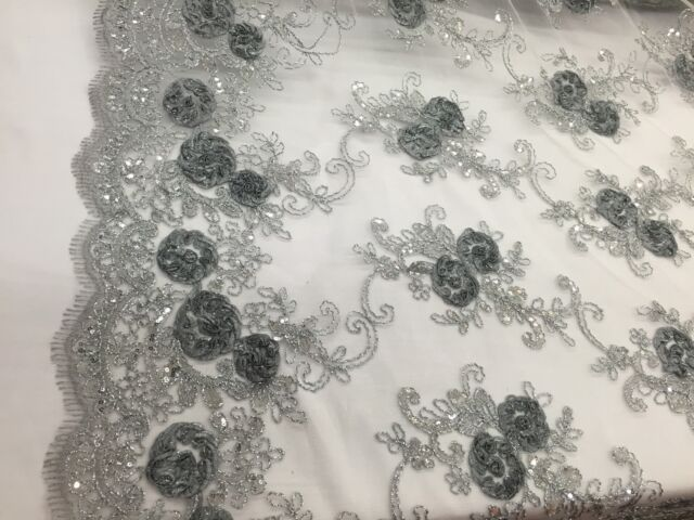 3D RIBBON FLOWER EMBROIDER WITH SEQUINS ON A GRAY MESH-FASHION-SOLD BY THE YARD.