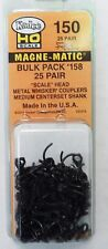 HO Scale Kadee #150 Bulk Pack - 25 pair #158 Scale Whisker Metal Couplers