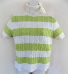 Sleeve Cashmere Cable Green M Turtleneck Short White Nwt 130 Sweater Stribet AxqwSvSR