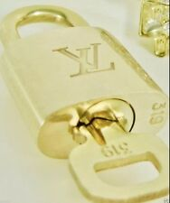 Authentic Louis Vuitton # 318 Padlock & Key + Ring  Brass