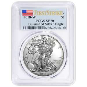 2018-W Burnished $1 American Silver Eagle PCGS SP70 First Strike Label