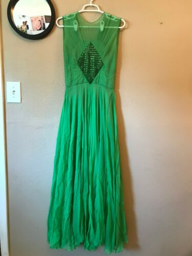 1940s Green Silk Chiffon Beaded Formal Gown S/M Vi