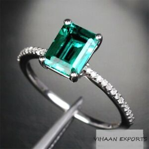 925-Sterling-Silver-Hydro-Colombian-Shade-Emerald-Octagon-American-Diamonds-Ring