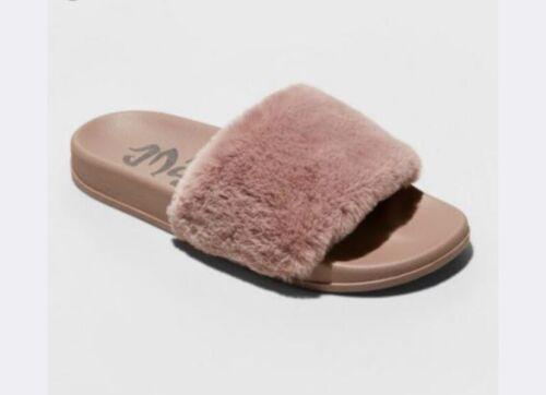Mad Love Women Sandals Sz 9 Footwear Mauve Phoebe Faux Fur Slide Slip On Pink