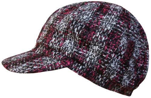 New Womens Baker Boy Cap Ladies Peaked Newsboy Fashion Hat In Black or Pink