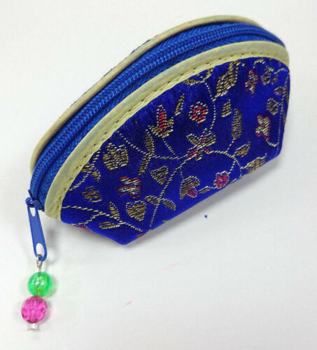 Chinese Floral Silk Satin Embroidery Coin Purse w Gem Zipper Wallet Hand Size