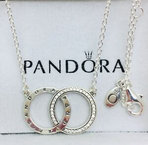 27f61b0d820d3 Details about Pandora Genuine Sterling Silver Circles Necklace #396235CZ -  45CM
