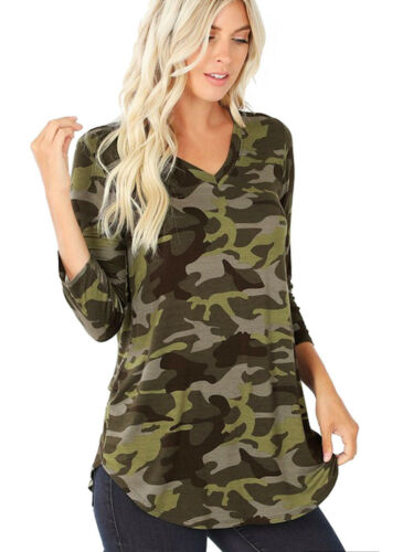 Women/'s Camouflage Print 3//4 Sleeve Round Hem Perfect Fit Quality Top